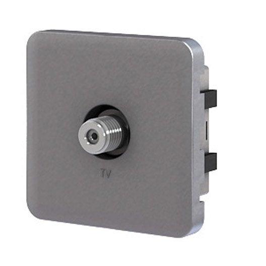 cache prise tv prise tv type f cosy lexman aluminium mat. Black Bedroom Furniture Sets. Home Design Ideas