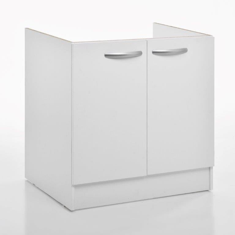 charmant Meuble de cuisine sous-évier 2 portes, blanc, h86x l80x p60cm