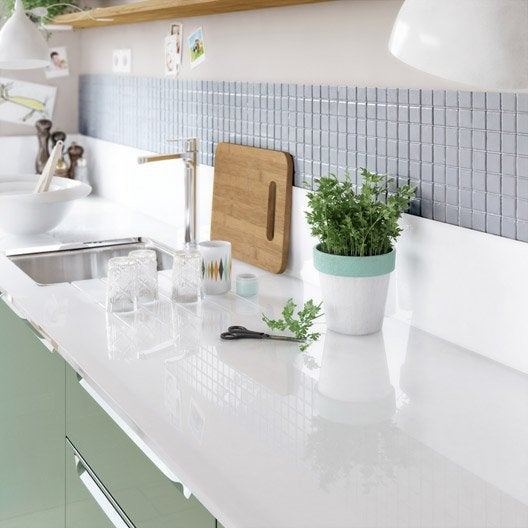 Plan De Travail Effet Verre Blanc. Free Cuisine Style Industriel