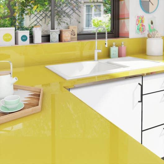 plan de travail sur mesure verre laqu jaune anis. Black Bedroom Furniture Sets. Home Design Ideas