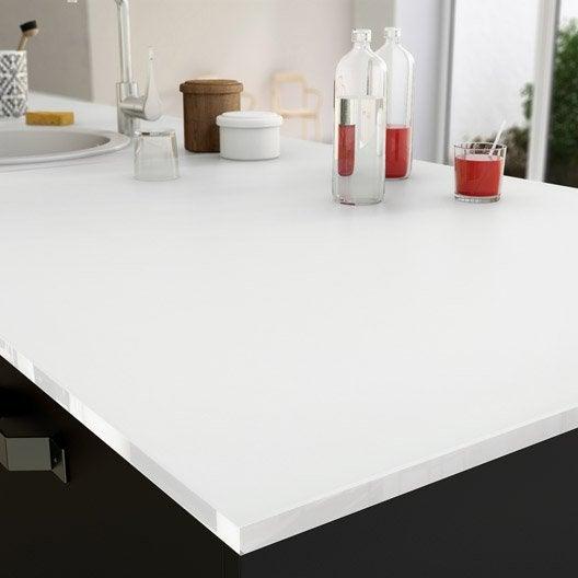 plan de travail sur-mesure verre laqué blanc, ep.15 mm | leroy merlin