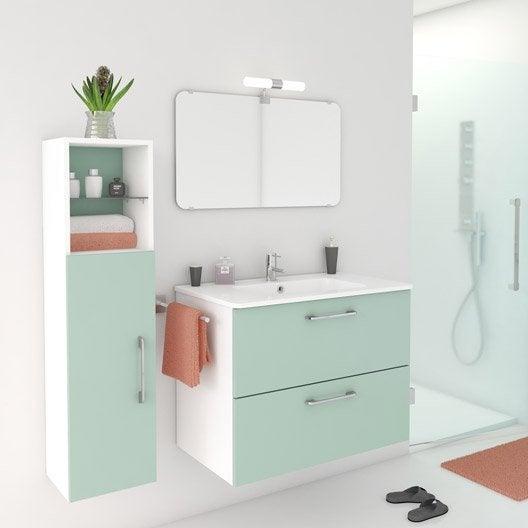 meuble de salle de bains de 80 99 vert happy leroy merlin. Black Bedroom Furniture Sets. Home Design Ideas