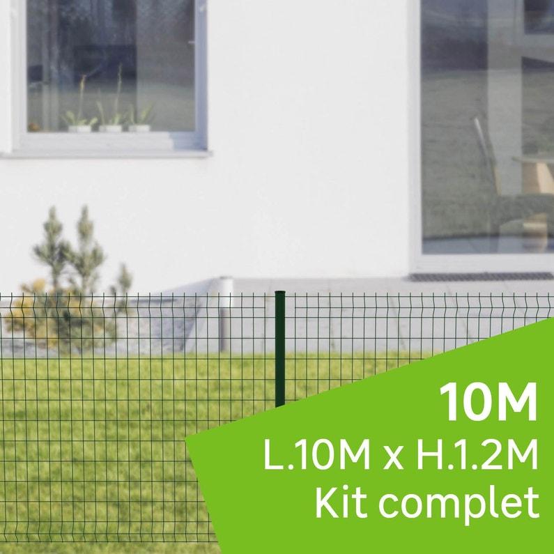 Kit Grillage Rigide 10 M Sur Platine Cerista Vert H12 M