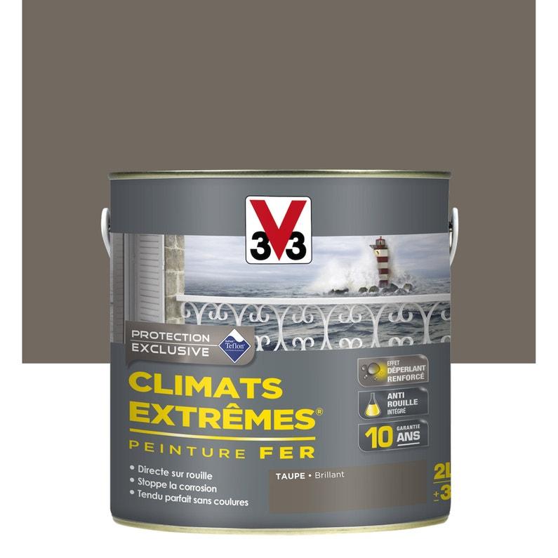 Peinture Fer Extérieur Climats Extrêmes V33 Taupe 2 L Leroy Merlin