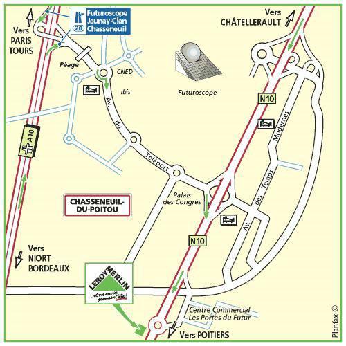 Plan d'accès au magasin Leroy Merlin de Cholet