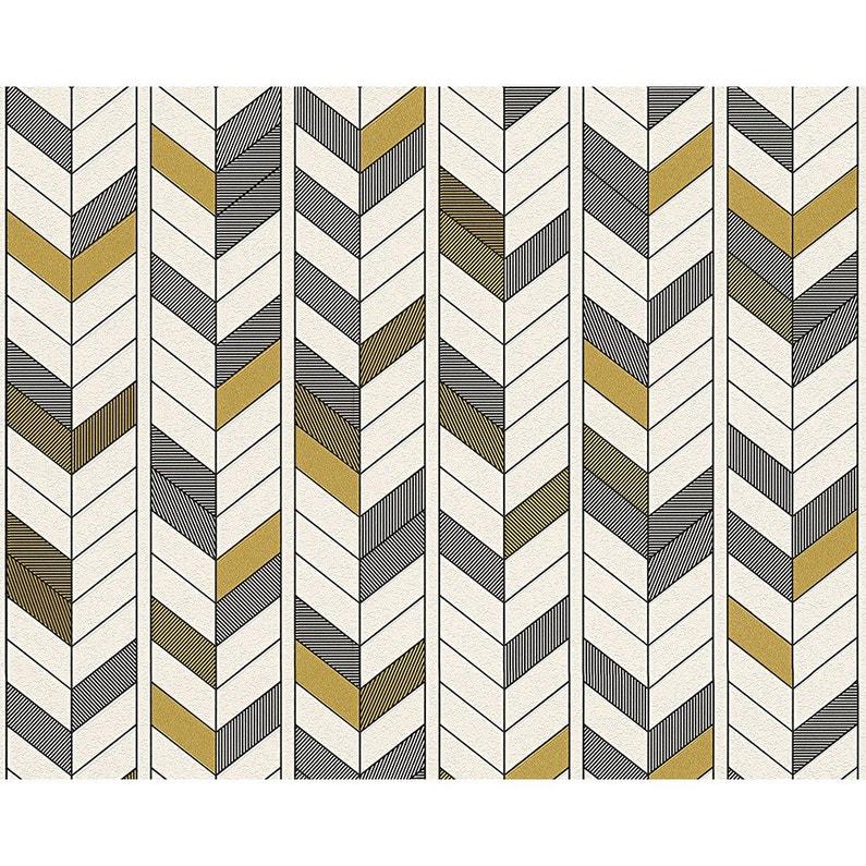 Papier Peint Geometrique Blanc Noir Or Intisse Ap 2000 Leroy Merlin