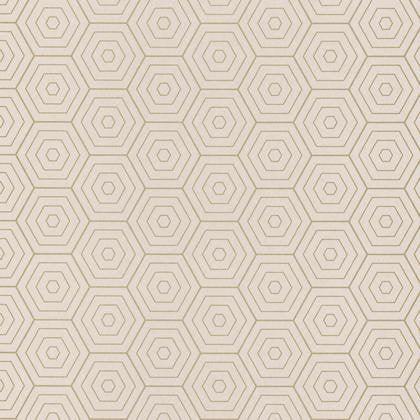 Charmant Papier Peint Hexagone Beige Clair Et Or Intissé Shine