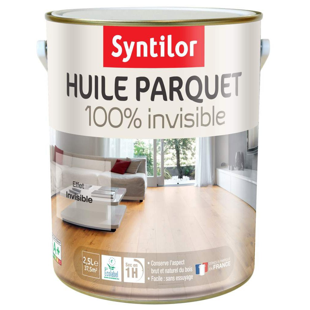 huile parquet 100 invisible syntilor 2 5 l incolore leroy merlin. Black Bedroom Furniture Sets. Home Design Ideas