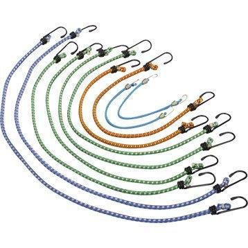 10 tendeurs crochet métal en polypropylène, diam. 6 m