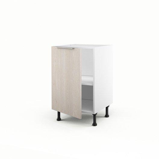 Meuble de cuisine bas d cor bois 1 porte nordik x l for Porte largeur 70