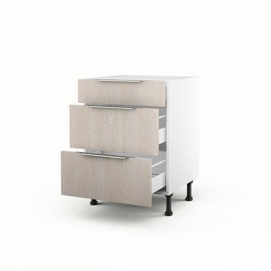 Meuble de cuisine bas d cor bois 3 tiroirs nordik x l for Meuble cuisine hauteur 70 cm