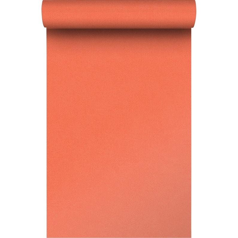 Papier Peint Intisse Lisse Mat Orange Leroy Merlin