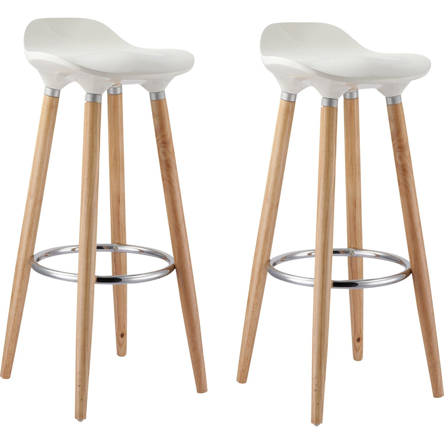 lot de 2 tabourets oslo blanc leroy merlin - Lot De 2 Tabouret De Bar