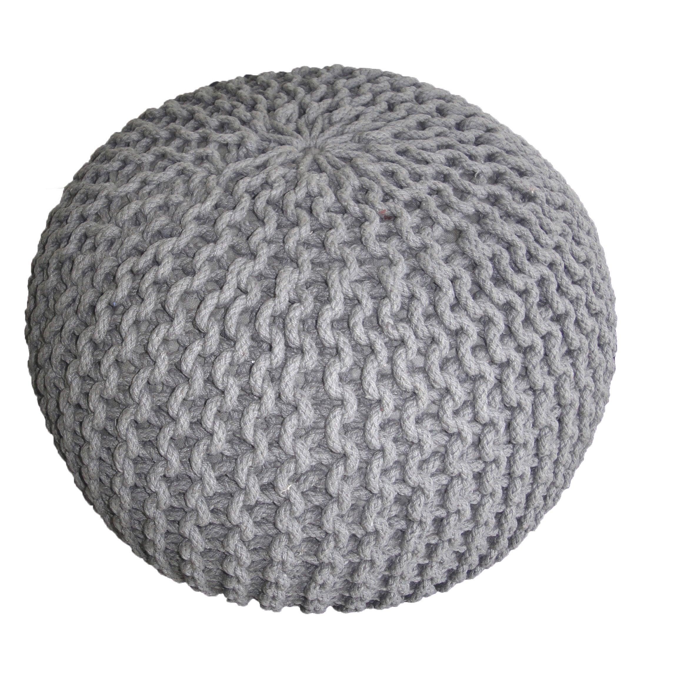 Pouf Tricot, gris l.45 x H.30 cm