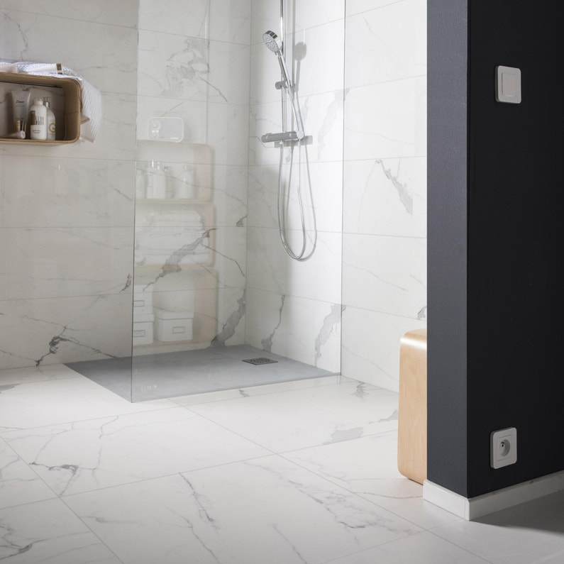 Carrelage sol et mur blanc effet marbre Rimini l.60 x L.60 cm