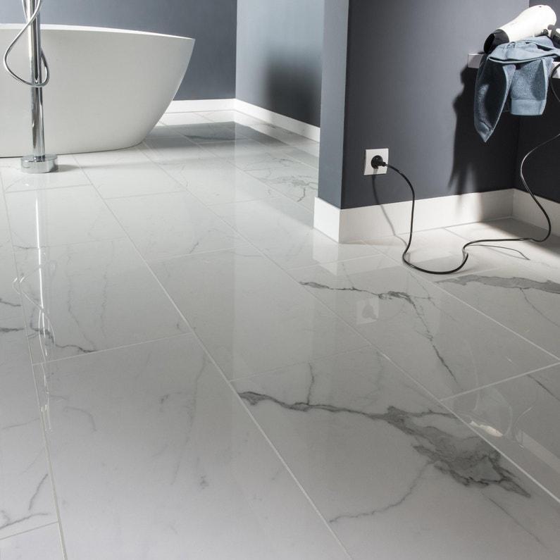 Audacieuse Carrelage sol et mur blanc effet marbre Rimini l.30 x L.60 cm DX-27