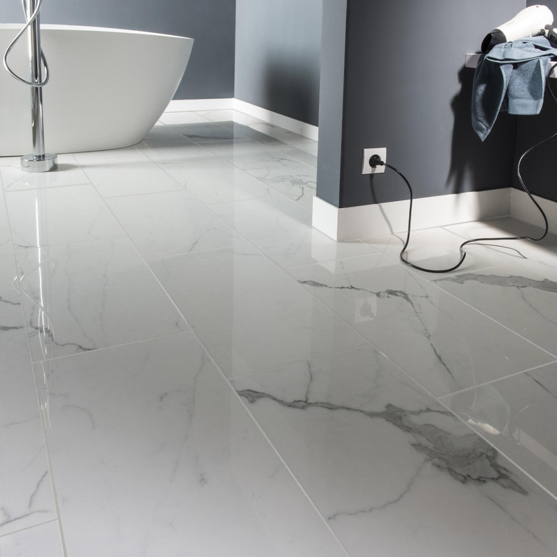 Carrelage sol et mur blanc effet marbre Rimini l.30 x L.60 cm