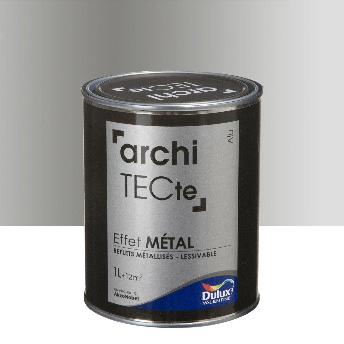 Peinture à Effet, Architecte Effet Métal DULUX VALENTINE, Gris Aluminium, 1  L Idee