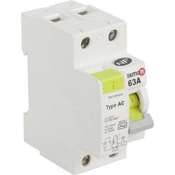 Interrupteur différentiel LEXMAN, 30 mA 63 A AC