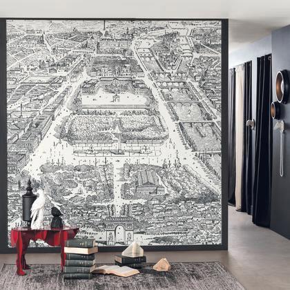 Papier Peint Intissé Shades Panoramique Toile Paris Noir Blanc