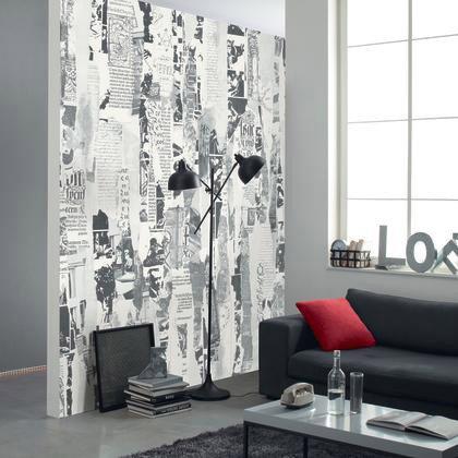 Papier Peint Intissé Shades Panoramique Newspapers Noir Blanc
