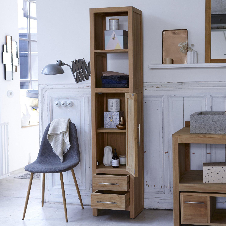 une colonne de rangement en teck pour une salle de bains moderne et authentique leroy merlin. Black Bedroom Furniture Sets. Home Design Ideas