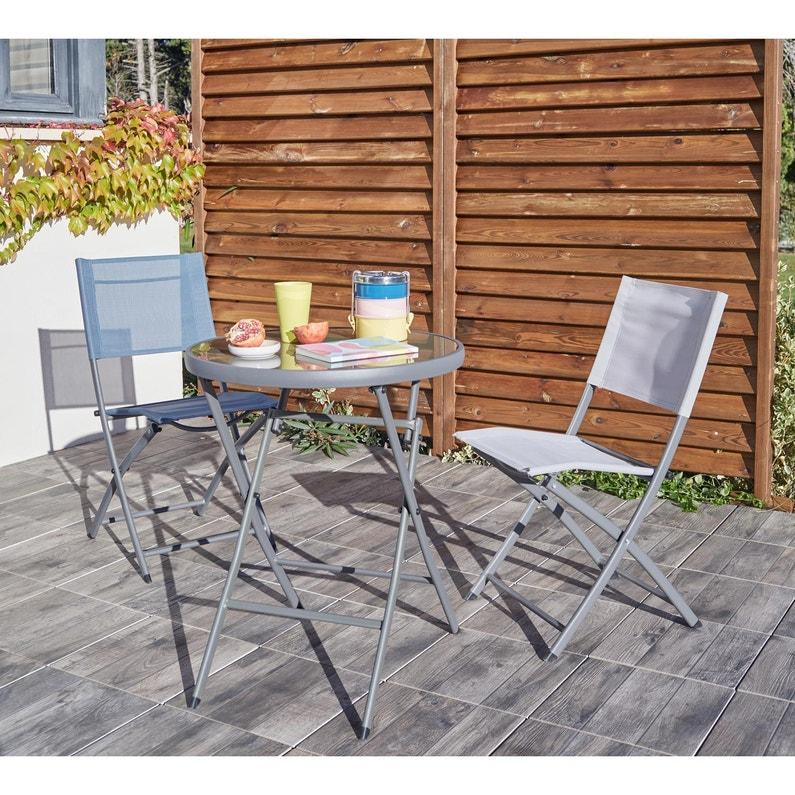 chaise de jardin en acier naterial denver gris  leroy merlin