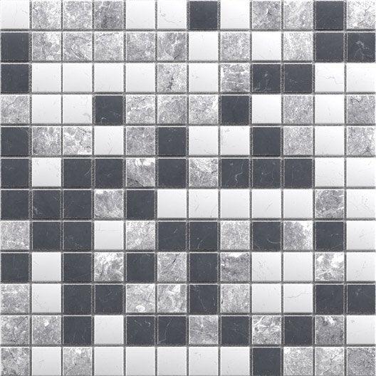 Mosa que sol et mur mineral marbre noir blanc et gris 2 3 x 2 3 cm leroy merlin - Marbre noir et blanc ...