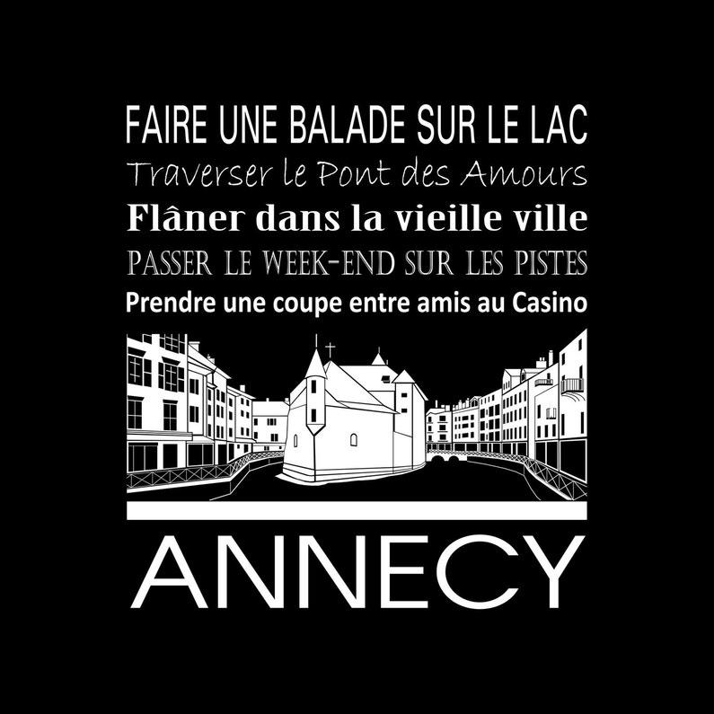 Toile Imprimée Annecy Noir Artis L30 X H30 Cm