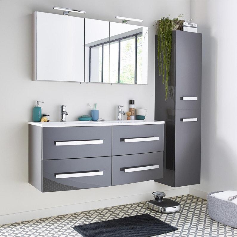 Meuble de salle de bains, Perla, l.121, gris, Double vasque | Leroy ...