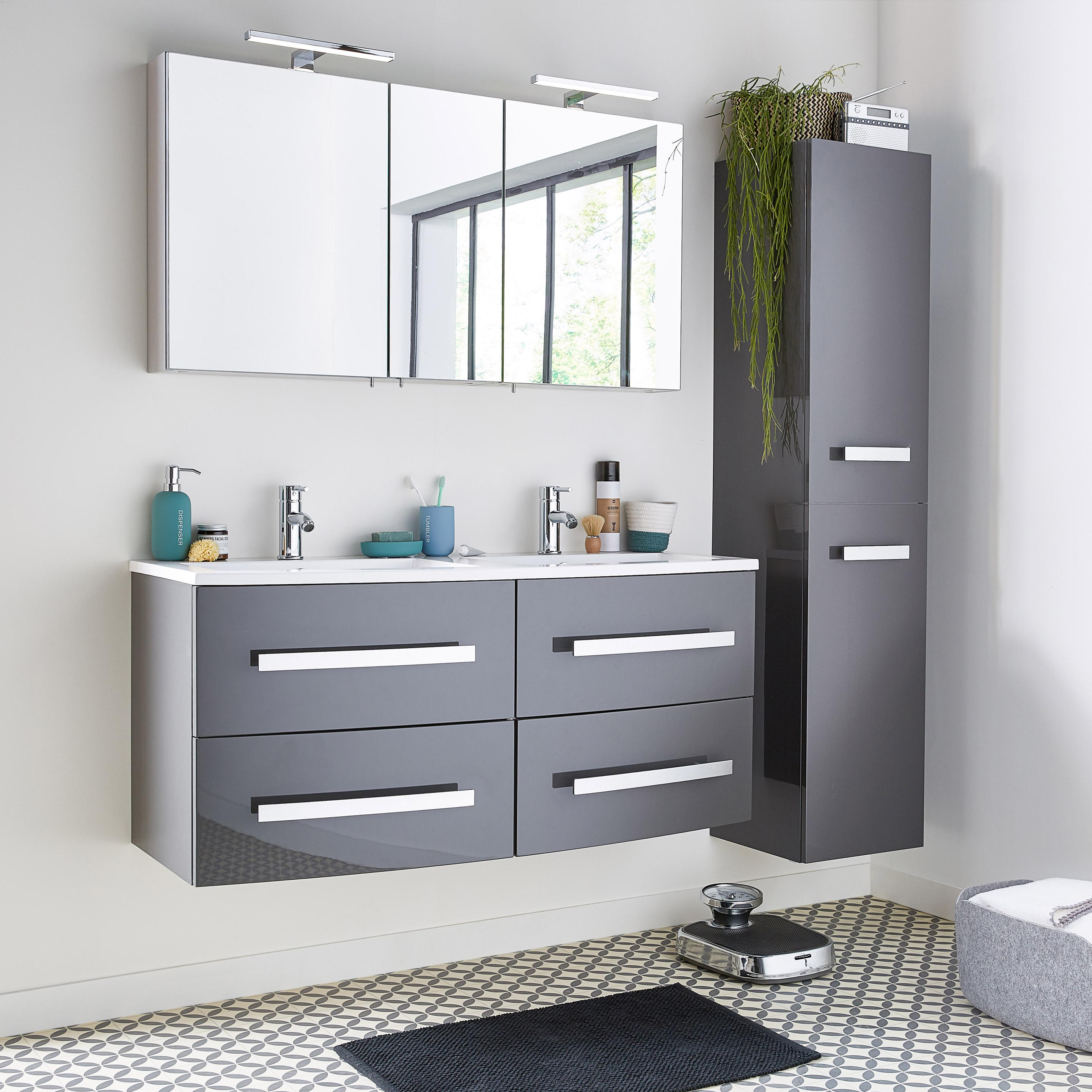 Meuble simple vasque l.121 x H.53.7 x P.47 cm, gris, Perla