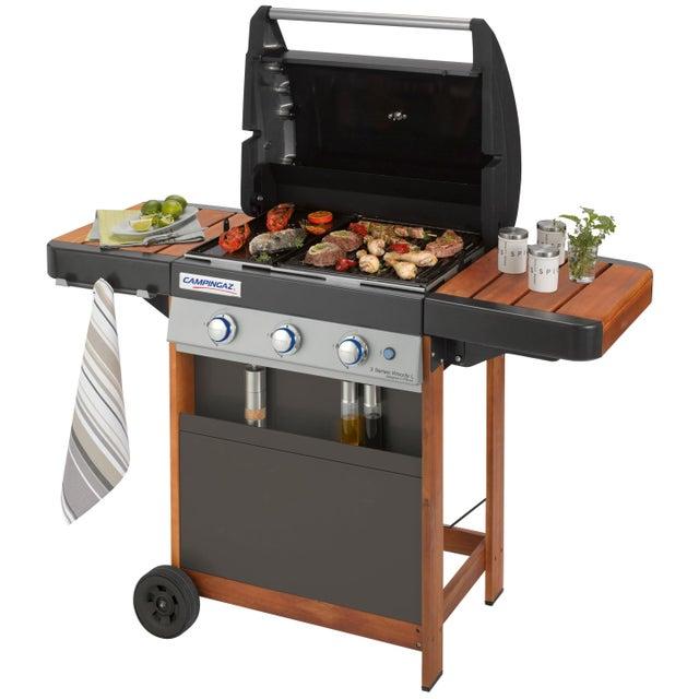 Barbecue Au Gaz Campingaz 3 Séries Woody Marron Et Noir