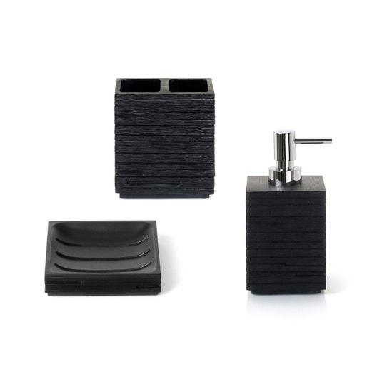 accessoire de salle de bains r sine quadrotto noir. Black Bedroom Furniture Sets. Home Design Ideas
