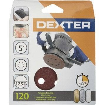 Lot de 5 disques abrasifs bois / peinture DEXTER, 125 mm grains 120
