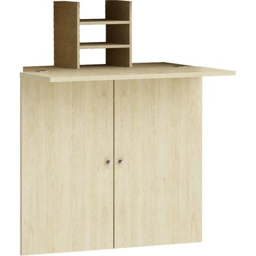 kit bureau spaceo home 100 x 80 x 30 cm effet ch ne naturel leroy merlin. Black Bedroom Furniture Sets. Home Design Ideas