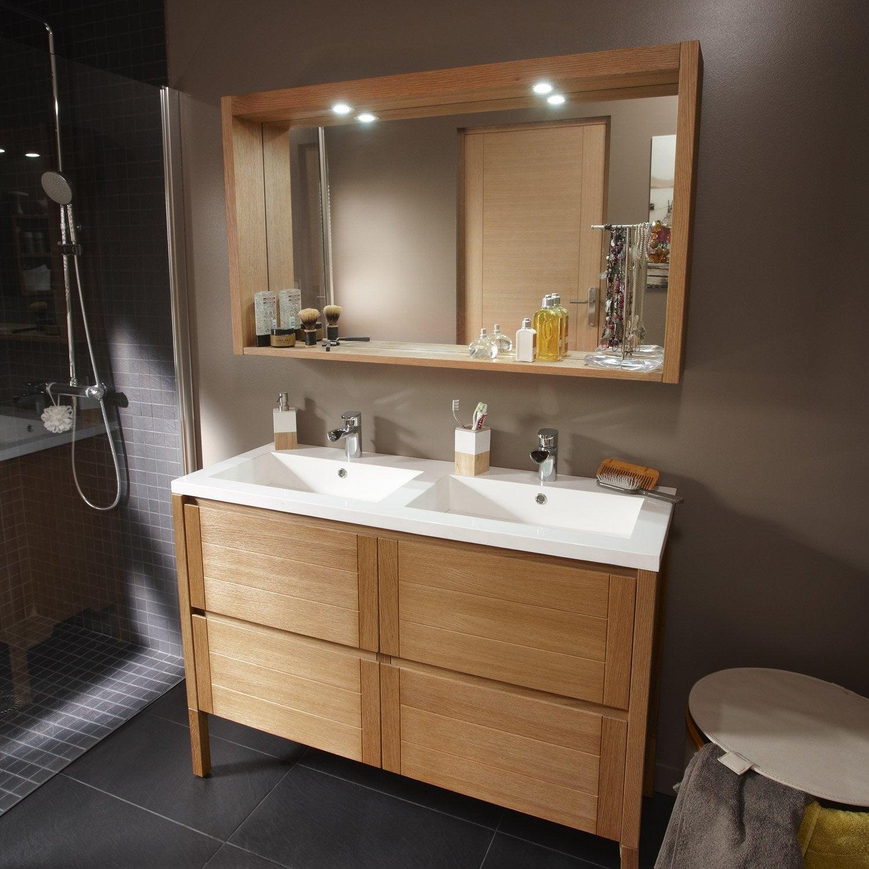 Meuble de salle de bains fjord plaquage ch ne naturel 120 for Meuble salle de bain naturel