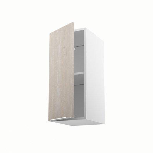 Meuble de cuisine haut d cor bois 1 porte nordik x l for Meuble 70x30