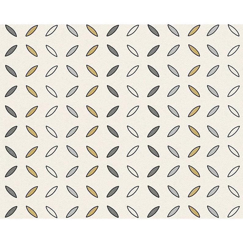 Papier Peint Feuille Blanc Or Gris Intisse Ap 2000 Leroy Merlin