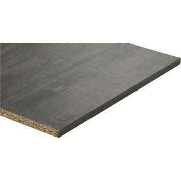 Tablette mélaminé planche usée noire SPACEO, L.250 x l.50 cm x Ep.18 mm