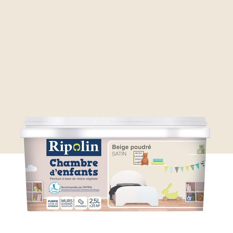 Peinture beige poudré satin RIPOLIN Chambre enfants 2.5 l