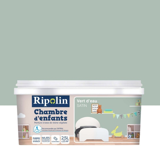 Peinture vert d\'eau satin RIPOLIN Chambre enfants 2.5 l   Leroy Merlin