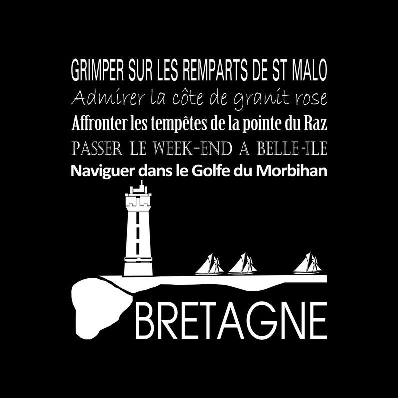 Toile Imprimée Bretagne Noir Artis L30 X H30 Cm