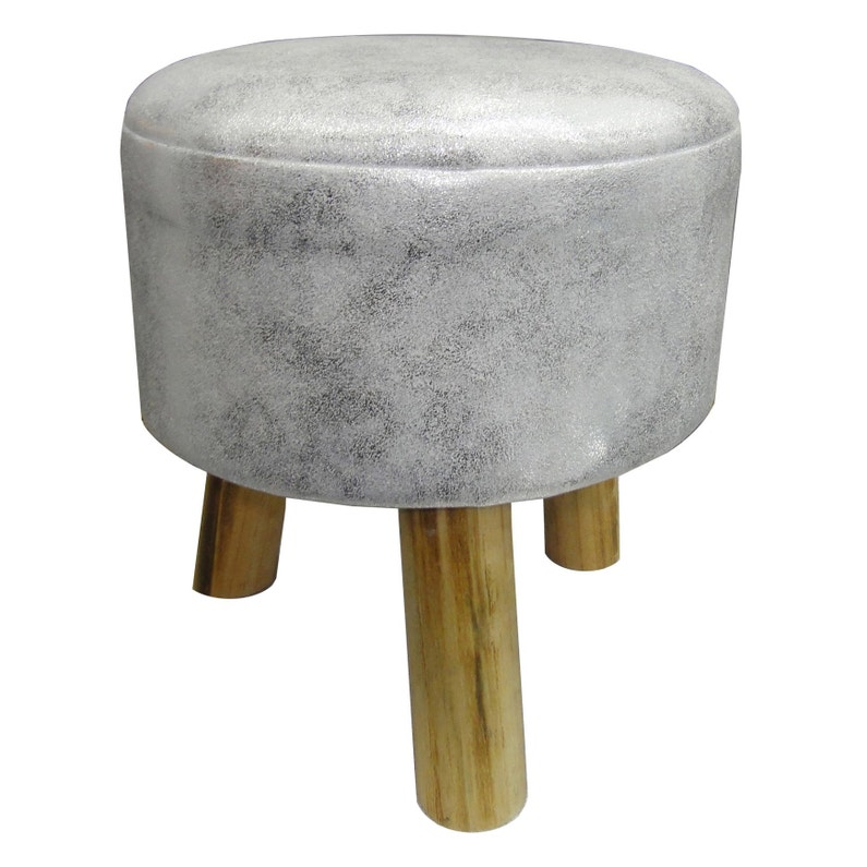 Pouf Pearly, argent l.32 x H.34 cm | Leroy Merlin