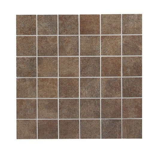 Mosa que factory artens marron 5x5 cm leroy merlin for Prix piscine 5x5