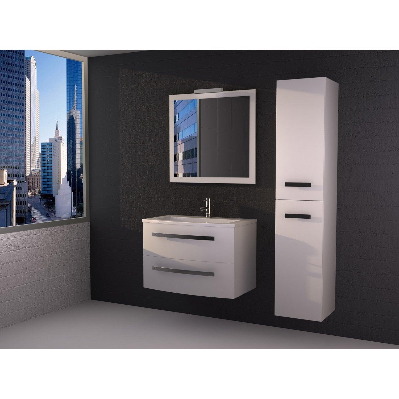 Meuble de salle de bains de 80 99 blanc perla leroy for Meuble rangement salle de bain blanc