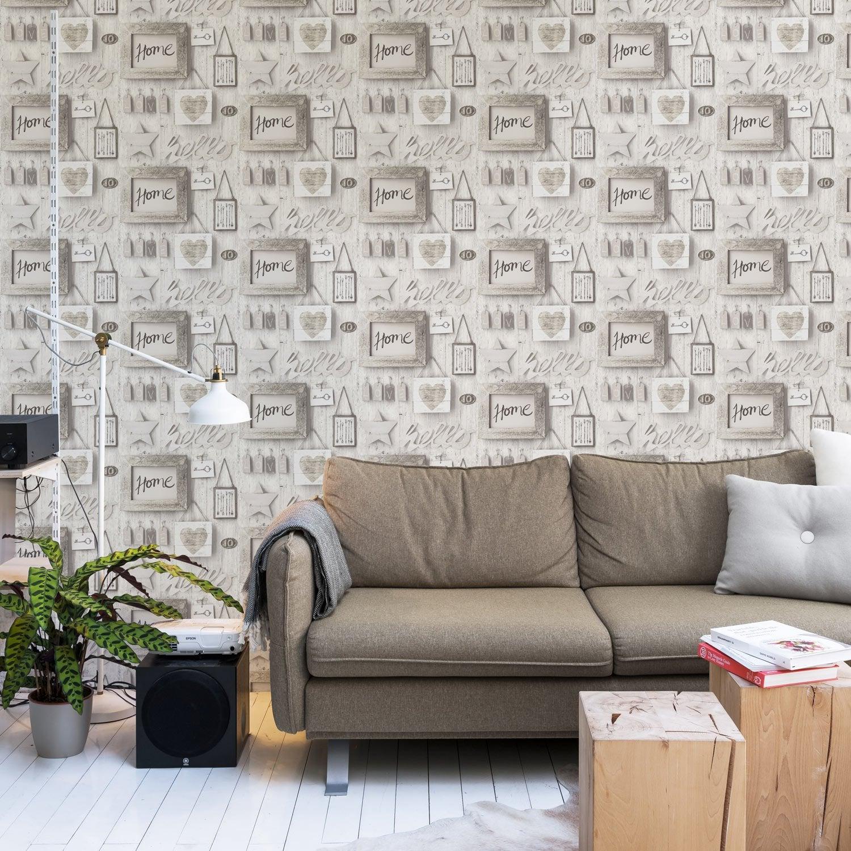 Papier peint intissé Vintage wood wall gris