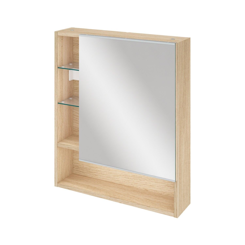 Armoire De Toilette L. 60 Cm, Gris, SENSEA Easy