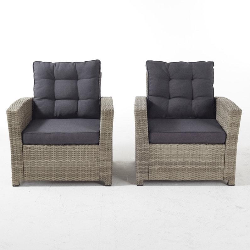 Lot de 2 fauteuils Daveport résine tressée taupe, 2 personnes ...