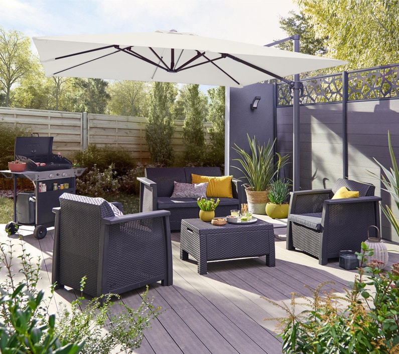Salon bas de jardin Kansas résine injectée gris anthracite, 4 personnes