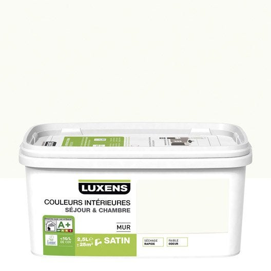 Peinture blanc calcaire 3 LUXENS Couleurs intérieures 2.5 l